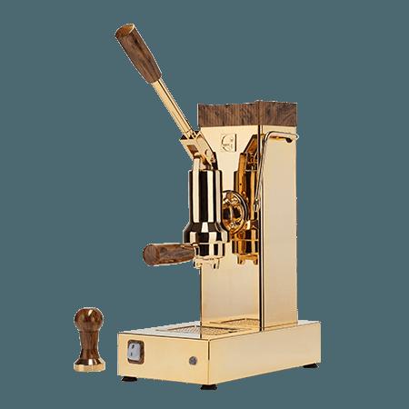 foto macchina caffè espresso a leva oro