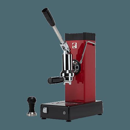 Foto macchina caffè espresso a leva export professionale colore rosso
