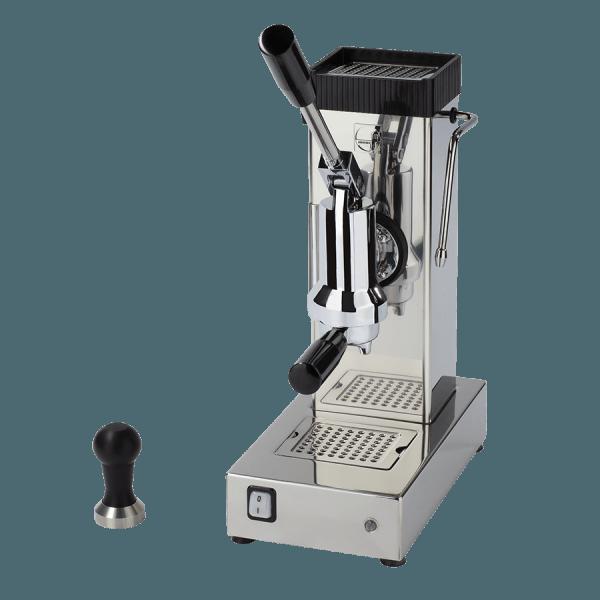 macchina per caffè a leva export argento