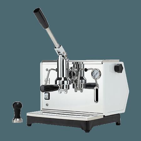 foto macchina caffè a leva espresso argentata
