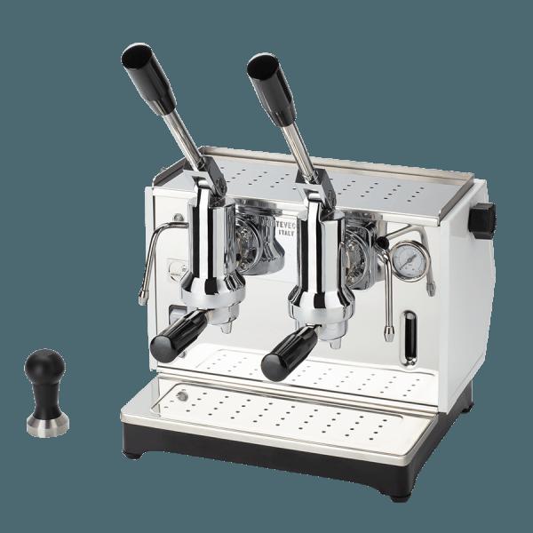 macchina per caffè a leva lusso 2 gruppi bianca
