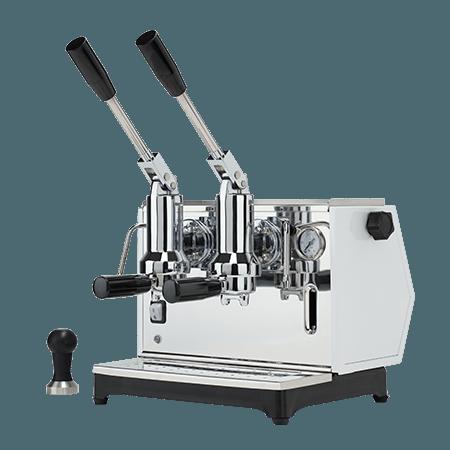 Foto macchina caffè espresso a leva di lusso professionale colore bianco
