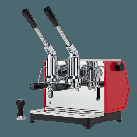macchina per caffè a leva lusso 2 gruppi rosso