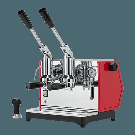 Foto macchina caffè espresso a leva professionale colore rosso