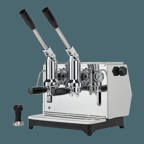macchina per caffè a leva lusso 2 gruppi argento
