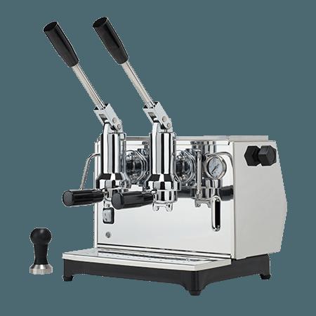 Foto macchina caffè espresso a leva di lusso professionale di colore argento