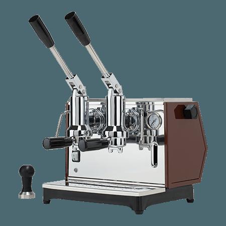 Foto della macchina per caffè espresso a leva di lusso professionale color tabacco
