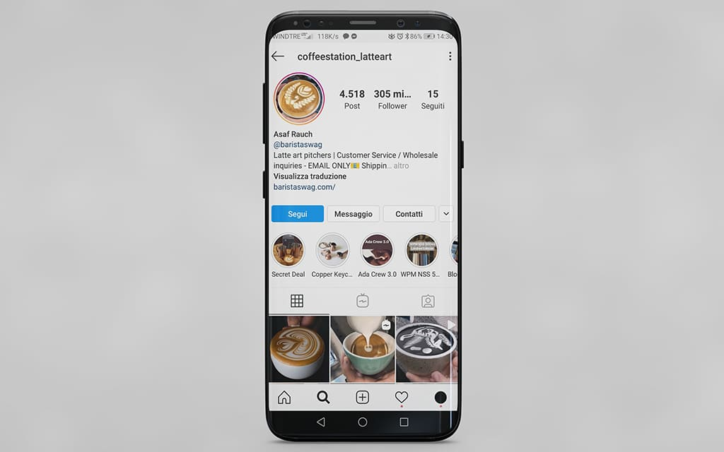 instagram profiles talking about coffee