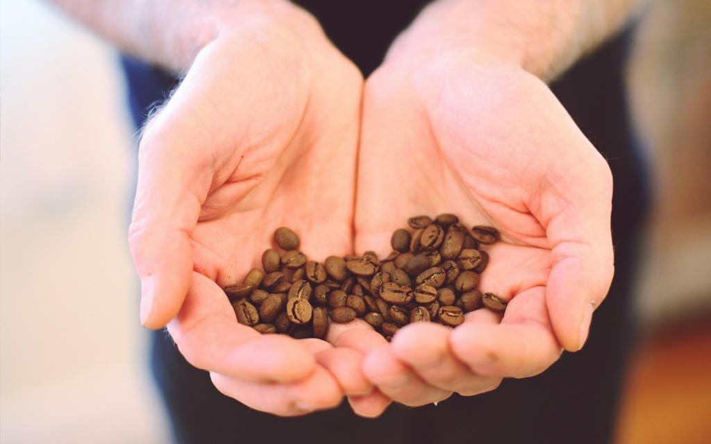chicchi di caffè nelle mani