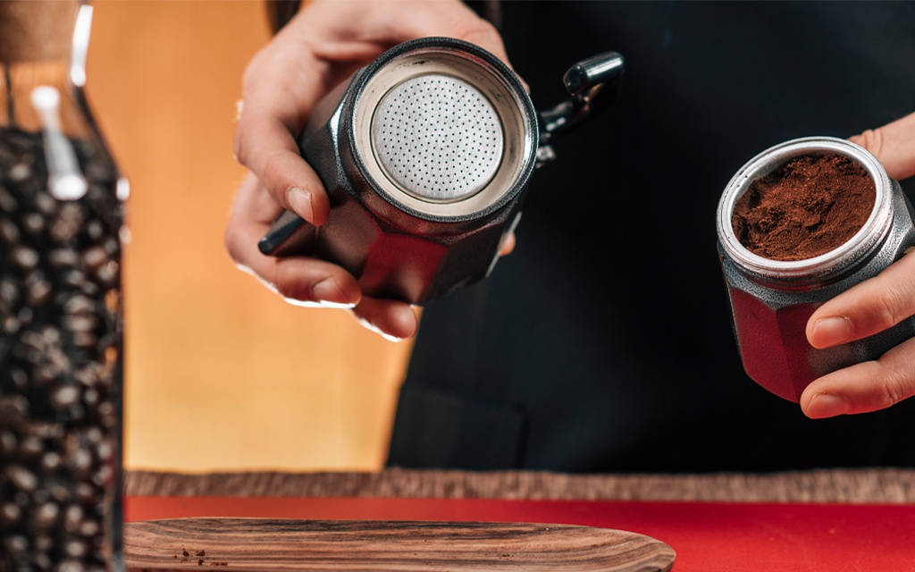 preparation coffee with the moka