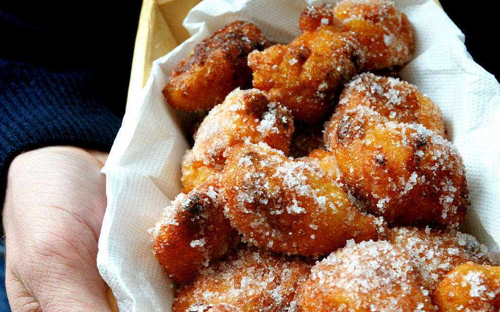 Carnival fritters with coffee